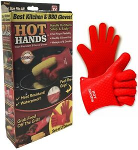 Hot Hands Heat Resistant Silicone Gloves Mitts Grilling BBQ Kitchen Cooking Pots