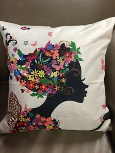 New Floral Butterfly Silhouette Cotton Linen Zip Up Cushion Pillow Cover 17x17