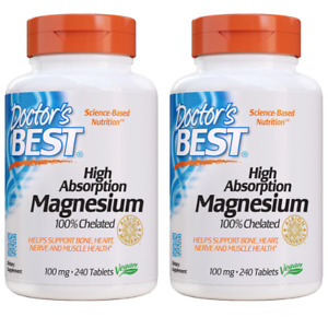 Doctor's Best High Absorption Magnesium Tablets, 100 Mg, 240 Ct 2 Packs