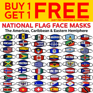 National Flag Face Masks Caribbean, South America, Central America, Europe