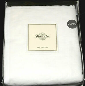 Sferra Bros. Chalet * QUEEN BLANKET * White Brushed Cotton, NEW!