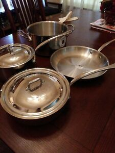 Mauviel M'cook 5 Ply Stainless Steel 6 Piece Cookware Set with Cast SS Handle