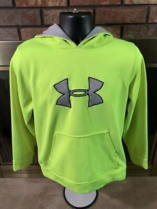 Under Armour Loose Hooded Hoodie Sweatshirt Youth Size XL Volt Green Gym $9.99