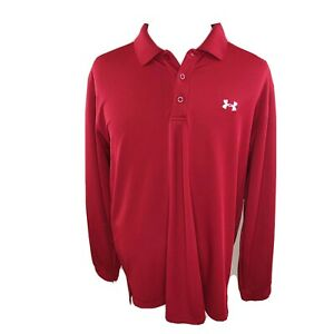 Men's Under Armour Heat Gear Polo Shirt XL Loose Scarlet Red Long Sleeve $19.00
