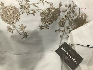 Sferra Italy NWT 1pc Queen Flat Sheet Rosina Embroidery 100% Cotton