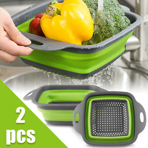 2pcs Set Silicone Collapsible Colander Foldable Washing Drain Strainer Basket US