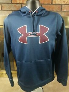 UNDER ARMOUR LOOSE Blue LOGOED HOODED HOODIE SWEATSHIRT SWEATER MENS SIZE Small $10.99