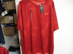 UNDER ARMOUR HEAT GEAR TECH TEE MENS T SHIRT SMALL NWT RED CAMO LOOSE FIT $12.99
