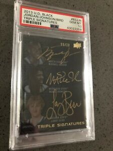 PSA 10 graded Michael Jordan Magic Johnson Larry Bird autographed card