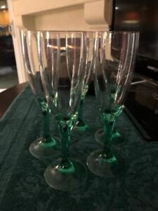 Set of five Crystal Champagne Glasses in Stunning pale Green graduated color!!!