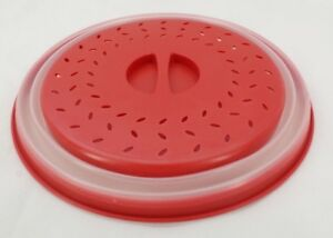 Collapsible Microwave Plate Cover Lid Splatter Shield Guard BPA Free Red T3