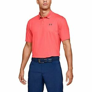 New Under Armour Men's Performance 2.0 Golf Polo Textured Shirt Pink Mens Large $38.00