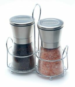 Premium Salt and Pepper Grinder Set with Table Stand, Brushed Stainless Steel
