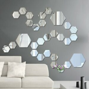 12PCS Acrylic Mirror Stickers Adhesive Removable Hexagonal Decorative Stickers