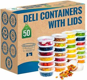 50Set 8oz Heavy Duty Small Round Deli Food Soup Plastic Containers Lids. $16.99