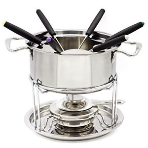 Stainless Steel Fondue Pot Inox Fuel hot pot Set with Forks for Chocolate Cheese