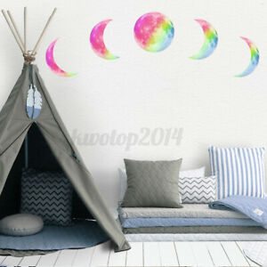 5PCS 30cm DIY Luminous Moon Wall Sticker Lunar Fluorescent Moonlight Decor Art