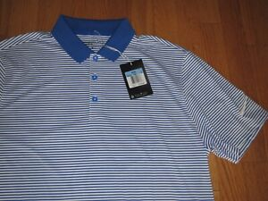 Men's Nike Dri Fit Golf Polo Shirt Royal & White Size Medium MSRP $60.00 **NEW** $32.45