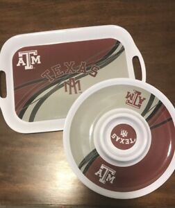 Texas A&M Aggies College Food Party Platters Chips Dips Appetizers Melamine Set