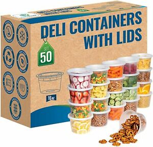 50 set 16 oz Heavy Duty Deli Food Soup Plastic Containers w Lids and Airtight
