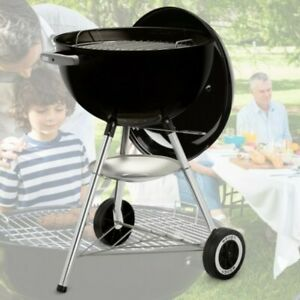 Classic Charcoal Barbecue Grill Round Portable Kettle Small BBQ Smoker Wheels