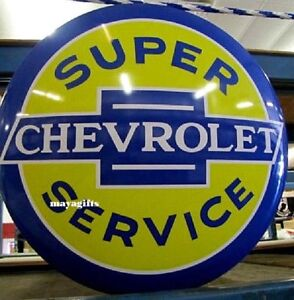 17'' Chevrolet Service Dome Metal Tin  Sign Chevy Bowtie Shop/Garage