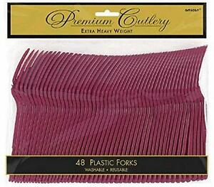 Amscan 8010.27 Premium Heavy Weight disposable forks 9.7 x 10.3 Berry 12 Pack