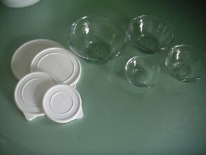 Pampered Chef Measuring Nesting Pouring Glass Prep Bowls Set of 4 with lids