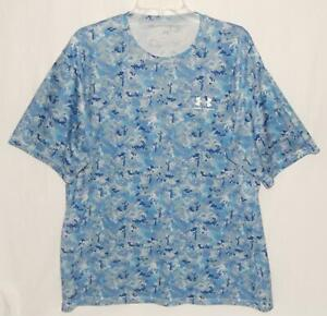 UNDER ARMOUR Men's Blue Gray Camouflage Short Sleeve Athletic T Shirt Size XL $19.99