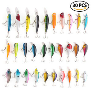 (30) Kinds of Fishing Lures Treble Hook Kit Minnow Crankbaits Baits 1.57- 3.66''