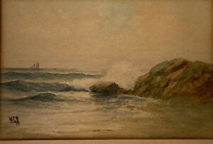 Antique Signed Watercolor William George Russell WGR Seascape 1867 1935 $145.00