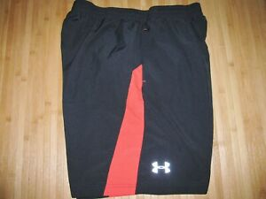 UNDER ARMOUR Shorts RUNNING Size LARGE Polyester BLACK & RED with 7 Inch INSEAM $22.99