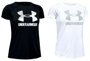 Under Armour Youth Girls Short Sleeve Logo T Shirt NWT Black White S L or XL $12.99