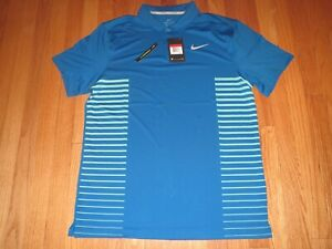 Men's Nike Dri Fit Golf Polo Shirt Blue Size Large MSRP $65 **NEW** $37.45