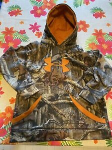 Under Armour Realtree Camo Orange Boys Sweatshirt Hoodie Size Large $9.99