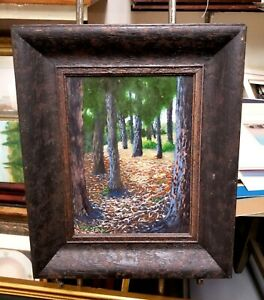 Awesome Forest Impressionist Landscape Oil on Board Nicely Framed
