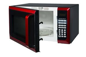 Stainless Steel 0.9 Cu. Ft. Red Microwave Oven, Touch pad control, 900W power