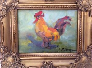 Original Impressionism Oil Framed Painting 6quot;x8quot; Bird Art Artist Signed $139.00