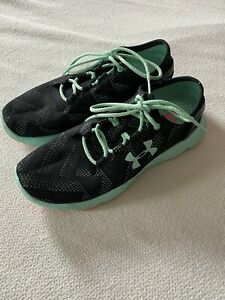Women's Under Armour Speedform Black Turquoise Sneakers Running Shoes Sz 8.5 $40.00