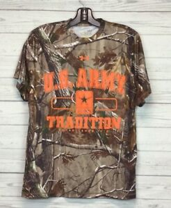 US Army Under Armour HeatGear Catalyst Mens Loose T Shirt Brown Camouflage S $9.99