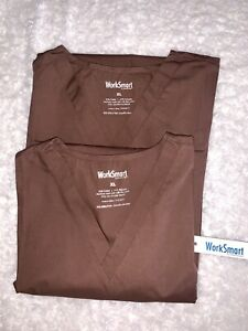 Work smart By Smart Scrubs Lot Of 2 Brown V Neck Short Sleeve W Pockets Size XL