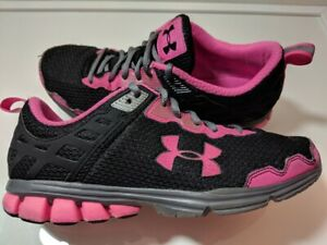 Women's Under Armour Running Walking Shoes Pink Black Size 6.5 US $17.95