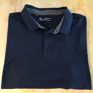 Under Armour Loose Fit polo style shirt 2XL navy blue cotton blend short sleeve $5.99