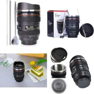 Coffee MugCamera Lens Cup With Sipping LidSuper Bundle(Spoon+Straw+Brush)Stai
