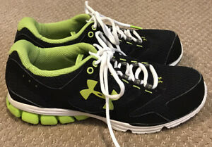 Womens Under Armour Athletic Sneakers Shoes Black Light Green Size 8 $19.99