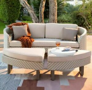 All Weather Outdoor Patio Wicker Daybed with Love seat 2 Ottomans 2 Pillows