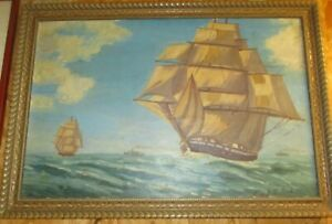 Antique Seascape Maritime Framed Oil Painting canvas clipper Ship Signed hulst M $389.00