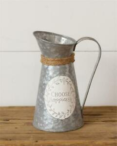 New Shabby Chic Farmhouse Galvanized White CHOOSE HAPPINESS PITCHER Vase Can