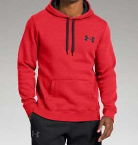 Under Armour UA Men's Armour Fleece Pullover Hoodie Jumper Top Red Large $27.99