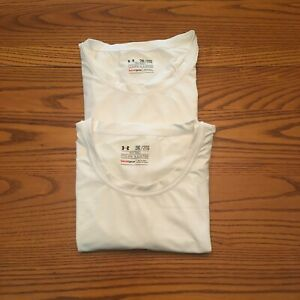UNDER ARMOUR HEAT GEAR FITTED SHORT SLEEVE SHIRTS 2XL white Lot of 2 $13.99